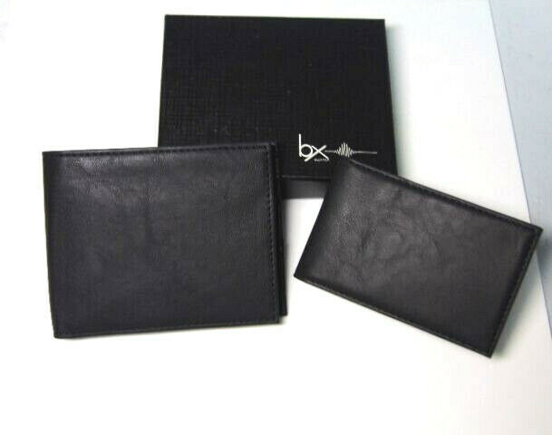 NEW Mens RFID Block BIFOLD WALLET +Removable PASSCASE Buxton Black Faux Leather