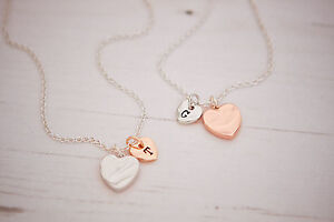 Shaard-Personalised-Silver-Rose-Plated-Heart-Necklace-Bracelet-Jewellery-Charm