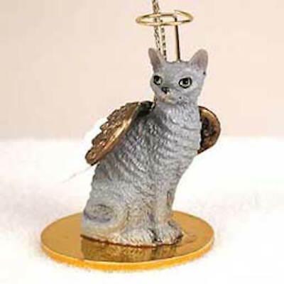 CORNISH REX CAT ANGEL Ornament HAND PAINTED Resin blue gray FIGURINE Christmas