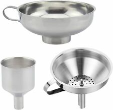 3x Home Kitchen Funnel Stainless Steel Cooking Oil Funnels Filling Small Bottle