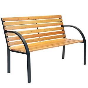 Wooden Garden Bench 2 Seater Steel Legs Modern Contemporary Style Furniture 5055512193691 Ebay
