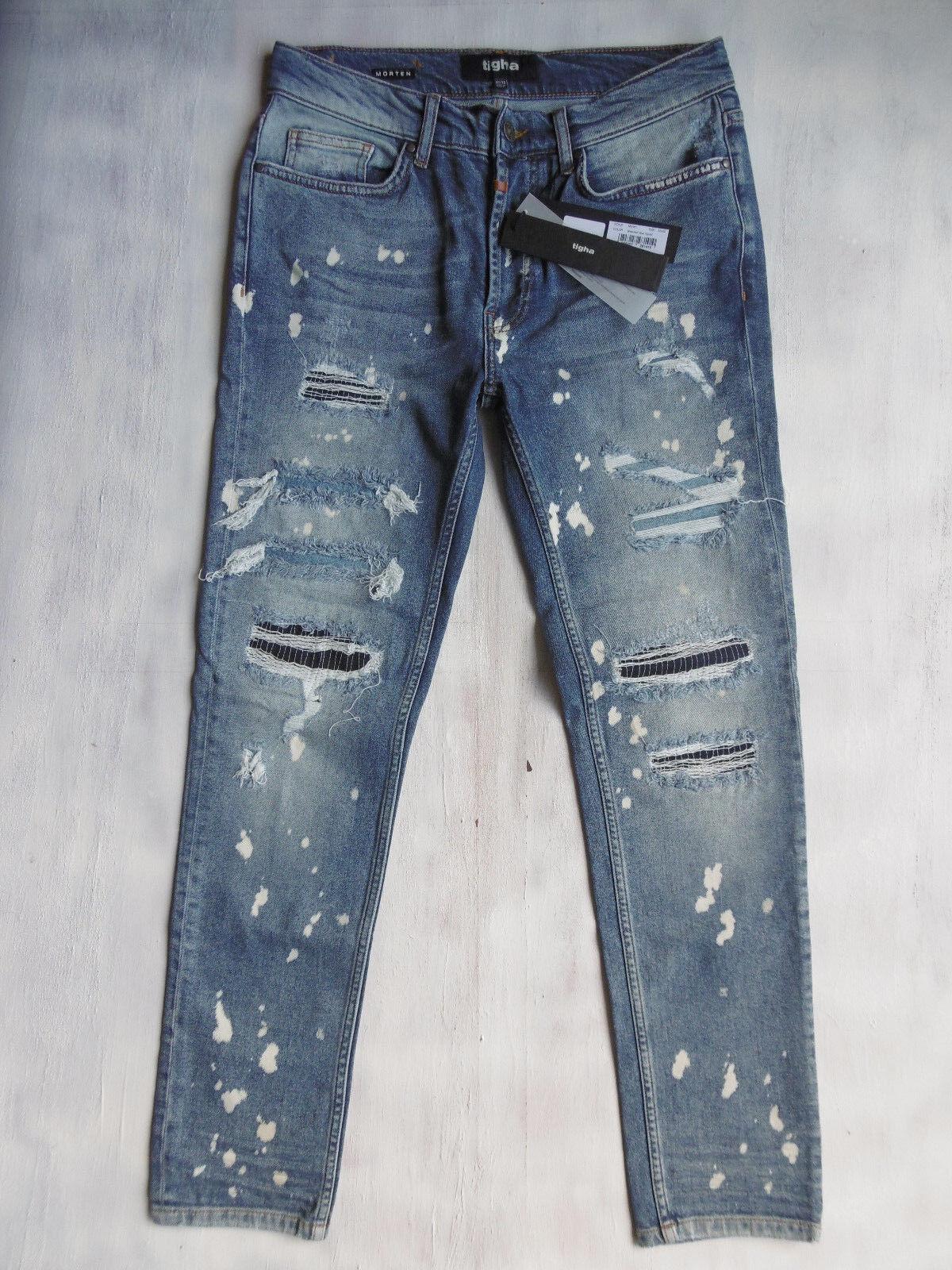 Tigha Morten Super slim Taperot Jeans Hose bleached Blau ripped W32 L32 Neu 15