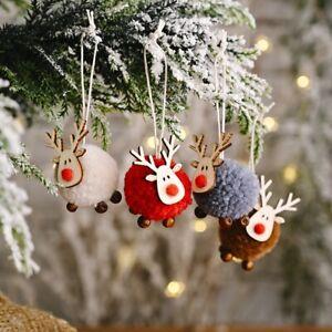 Weihnachtsanhaenger-Niedlich-Fuehlte-Holz-Elch-Anhaenger-Christbaum-Dekor-Geschenk