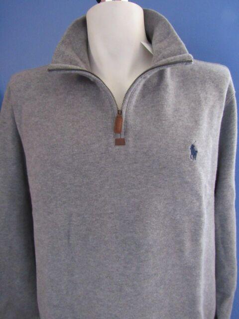 490d1aac3 Polo Ralph Lauren Men s Half Zip French Rib Sweater XL Grey for sale ...