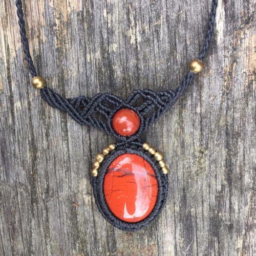 Boho macrame necklace long pendant bohemian hippy hippie ethnic unusual gift