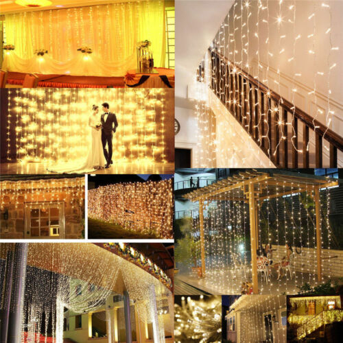 9.84*19.68ft 594 LED Curtain Light Icicle Lamp Warm White Window Starry String