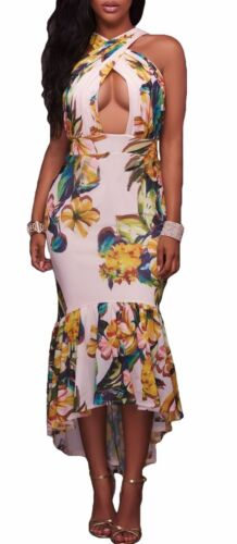 White Floral Fitted Stretch Keyhole Bodycon Dress in size Small and Medium