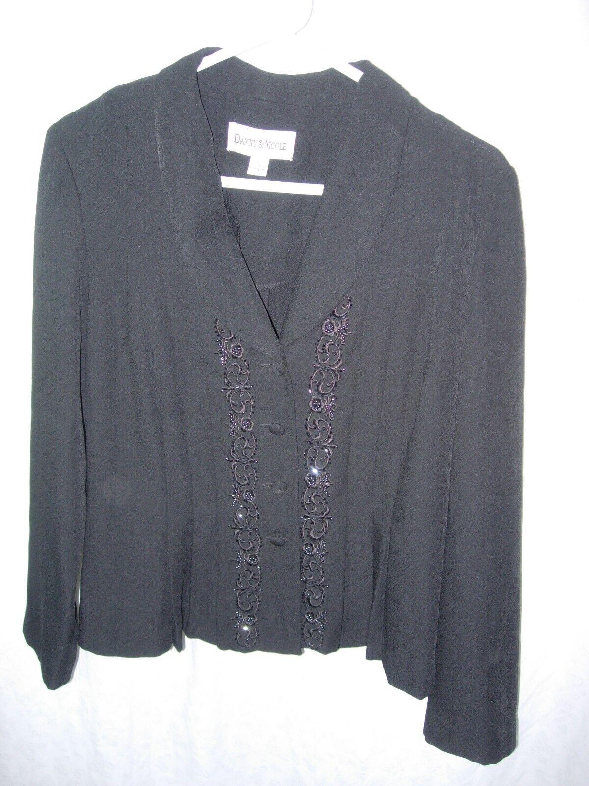 WOMENS BLACK BEADED MOTHER OF THE BRIDE SUIT COAT BLAZER DRESS JACKET SIZE 12 42