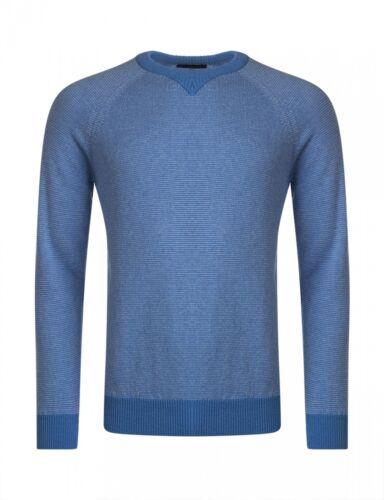 Da Uomo Grande /& Maglieria Britannico 100/% lana d/'agnello Maglione girocollo a righe con collo
