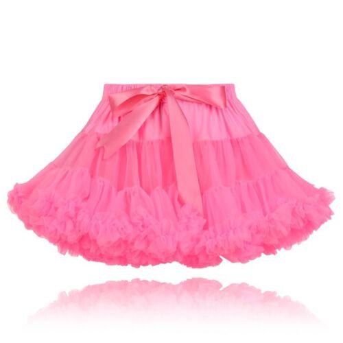 Les filles de qualité Rose Fluo Moelleux Nylon Parti Pettiskirt princesse Tutu Jupe UK