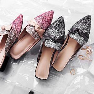 6de348ff3c2c WOmen's Glitter Bling Sequins Bling Mules Flats pointed toe Slippers ...