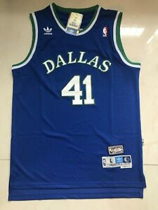 detailed look af0a4 353b3 Details about Dirk Nowitzki Dallas Mavericks Throwback Swingman Jersey Blue  Size S-XXL