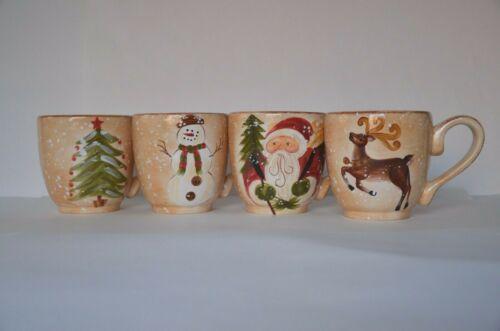 Tabletops Unlimited Winter Wonderland 4 Mugs - Snowman, Santa, Reindeer, Tree