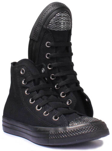 38 Schwarz Converse Hi Größe All Canvas Uk Star Chuck Trainers Taylor top Damen HED9IW2