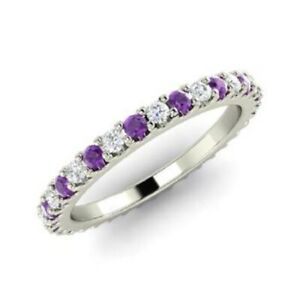 0-72-Ct-Amethyst-Eternity-Wedding-Band-14K-Solid-White-Gold-Diamond-Ring-Size-N