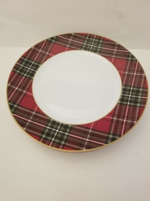 """x4 222 FIFTH WEXFORD RED TARTAN PLAID 10.5"""" DINNER PLATES CHRISTMAS HOLIDAY S/4"""