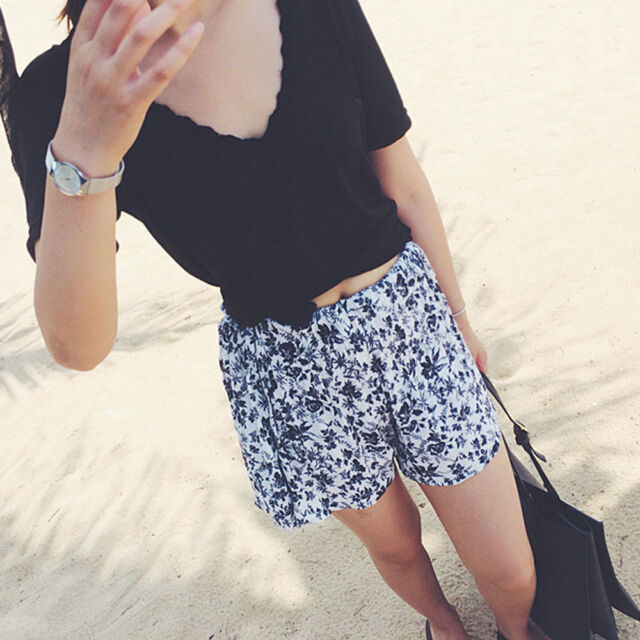Women New Short Retro Floral Print Casual Leisure Wild Shorts White 020