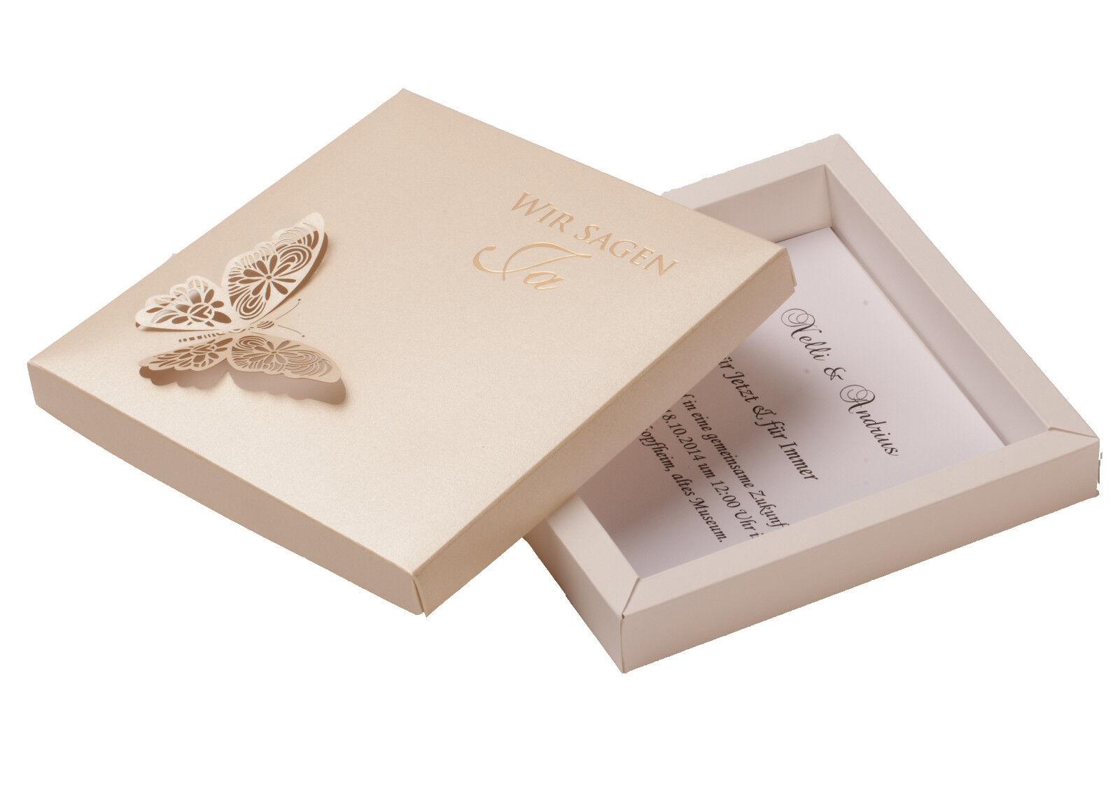 Einladungskarte Hochzeit FEB08 Einladungsbox Schmetterling