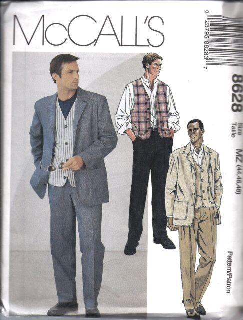 McCalls 8628 Mens Suit Sewing Pattern Jacket Vest Pants MW 38 40 42 ...