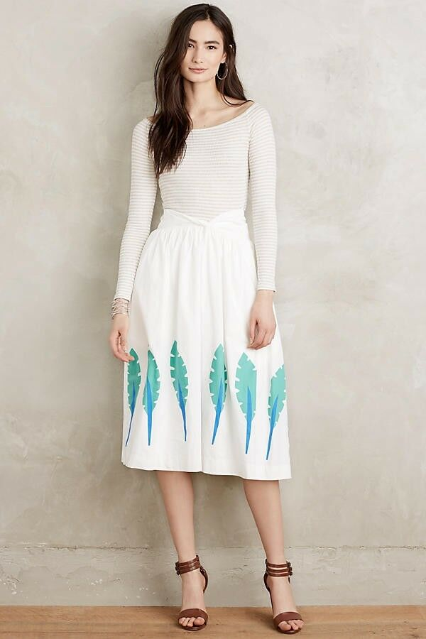 NEW Anthropologie  178 Corey Lynn CalterWomen's Green Royal Palm Skirt Size 6