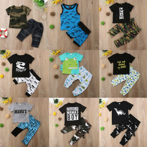 5706c0e790ad 2pcs Toddler Kids Baby Boy Summer Outfit Clothes T-shirt Top+Shorts ...