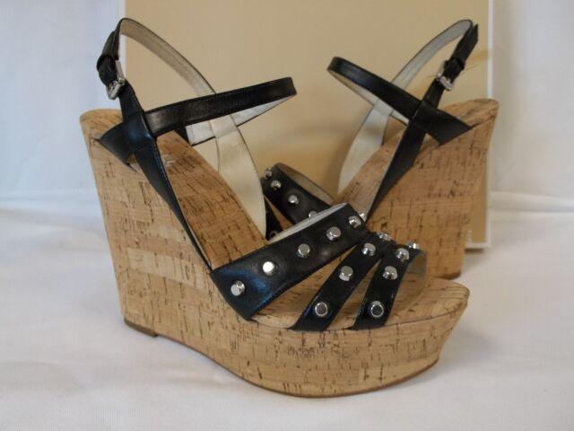 Michael Kors 9.5 M Jolie Black Leather Open Toe Wedges New Womens Shoes