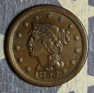 1853 BRAIDED HAIR LARGE CENT COPPER COLLECTOR COIN, FREE SHIPPING