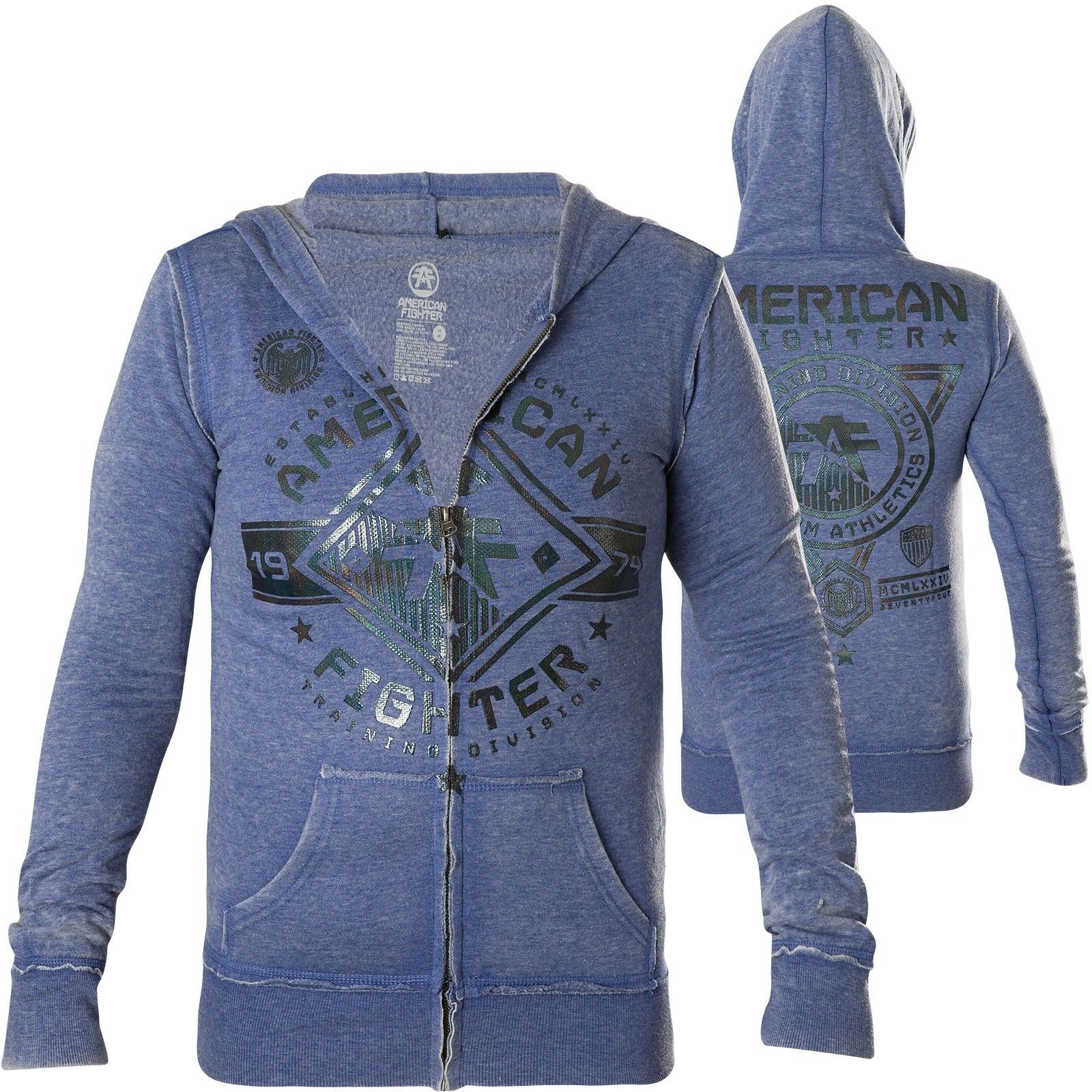 American Fighter Affliction Donna Hoody Massachusetts giacche blu con