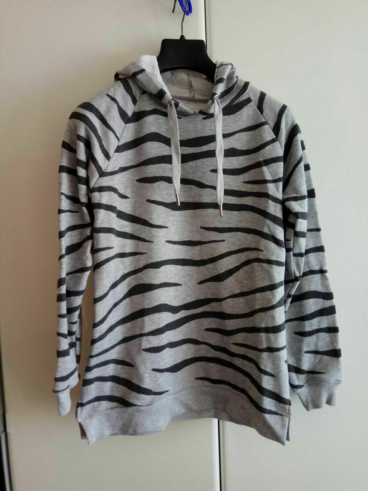 ZOE KARSSEN Grey Hooded Animal Print Jumper Sweatshirt  SIZE  L