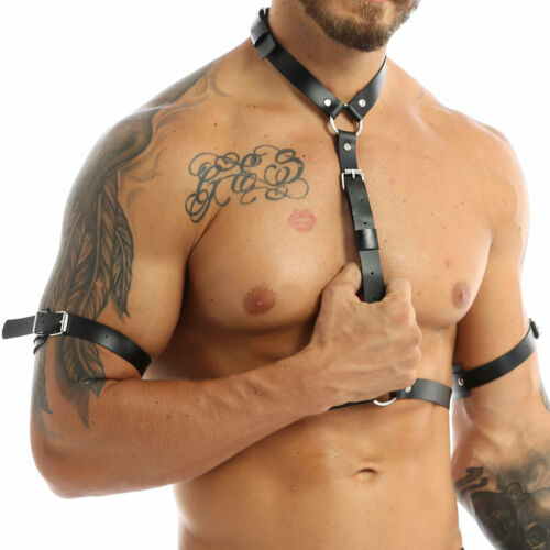 Details about  /Men/'s Buckle PU Leather Body Chest Harness Belt Punk Gothic Clubwear Costume