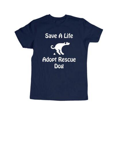 Save A Life Adopt Rescue Dog Pet Kids Girls Boys Youth Teen Top Tee T-Shirt