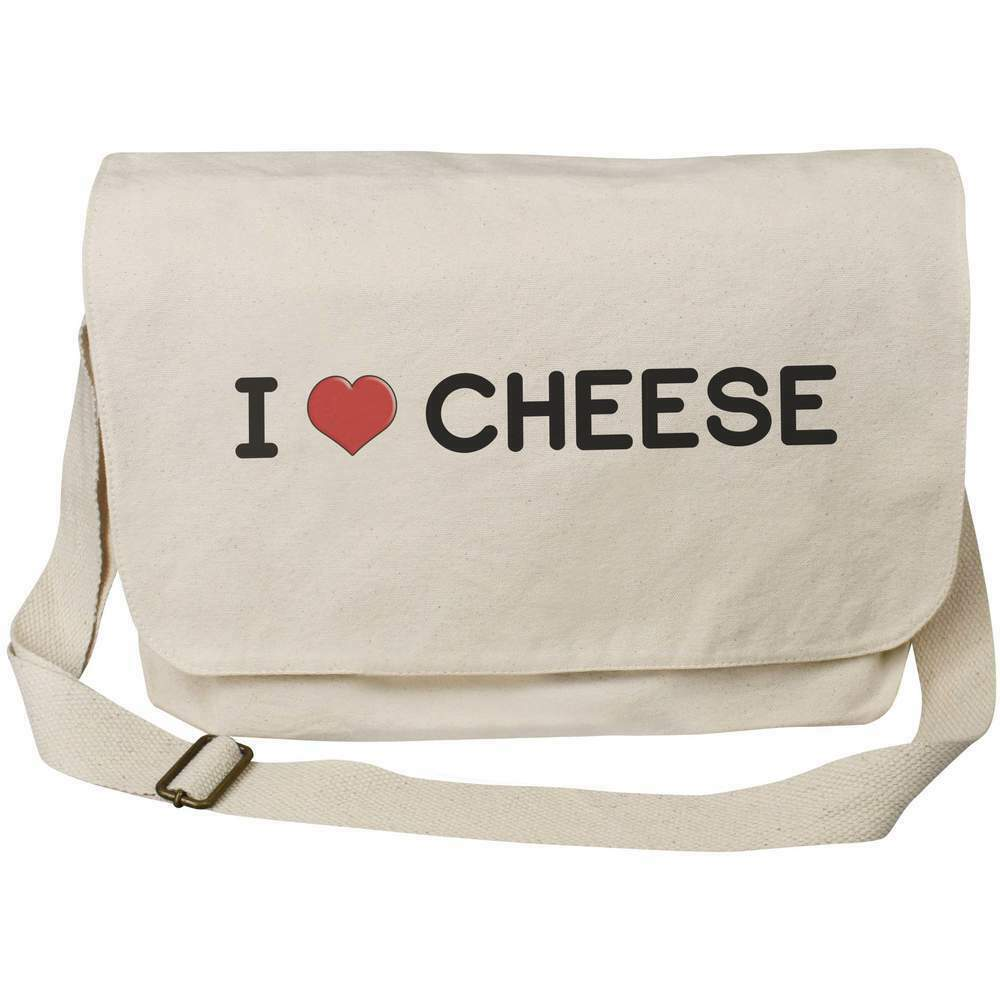 I Love Cheese' Cotton Canvas Messenger Bag (MS00000587)