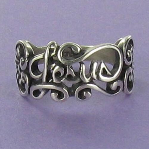 Jesus Script Ring Sterling Silver Faith Religion Filigree Swirl Christian Heart