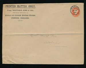 STAMP DEALER STATIONERY 1893 WHITFIELD KING ENVELOPE IPSWICH to COLCHESTER
