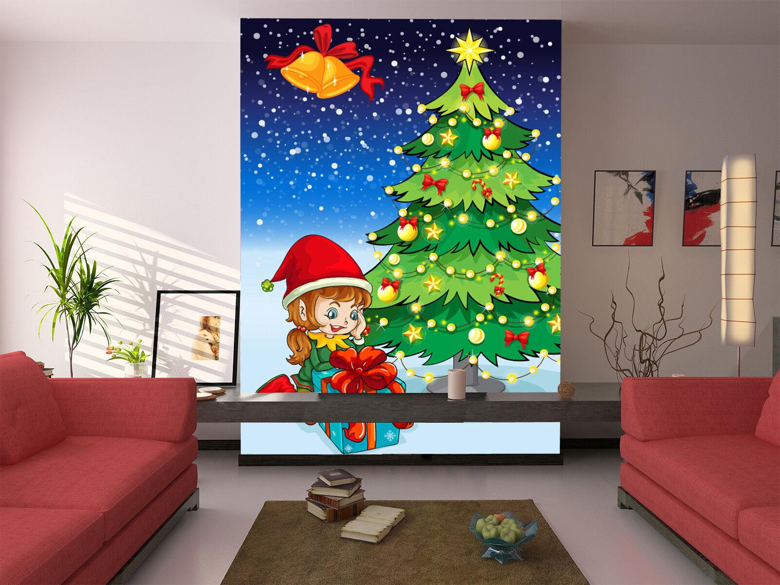 3D Christmas Gift Girl 54 Wallpaper Murals Wall Print Wallpaper Mural AJ WALL US