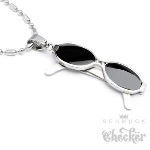 Biker-Sonnenbrille-Anhaenger-Kette-Edelstahl-Herren-schwarz-silber-Bikerschmuck