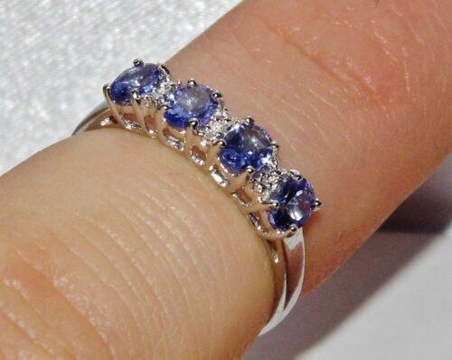 y Diamante señoras anillo de la eternidad tamaño K-en Caja De Regalo 9ct Oro Blanco Tanzanita AAA