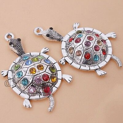 3pcs New Antique Silver Alloy Tortoise Charm Pendant Fit Jewelry making D