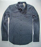 American Eagle Mens Gray & Blue Printed Western Shirt Xl