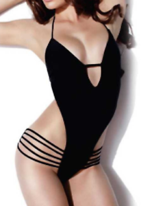 f25d0ddfc430d Sexy Black Summer Beach Cut-Out Plunge Monokini One Piece Swimsuit ...