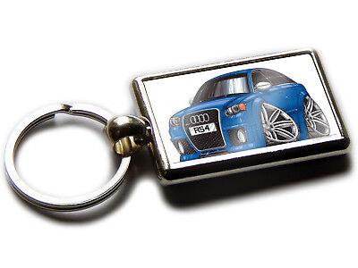 AUDI RS4 Sports Car Koolart Chrome Keyring Picture Both Sides