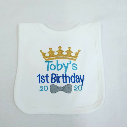 Personalised 1st Birthday Bib Baby Clothes Boy Embroidered Crown Design
