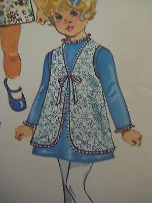 Vintage Simplicity 9130 SHORT DRESS & TIE VEST Sewing Pattern 2 Child Girl UNCUT