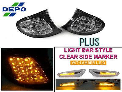 DEPO 02-05 BMW E46 4D/5D AMBER LED CLEAR CORNER LAMP +LIGHT BAR LED SIDE MARKER