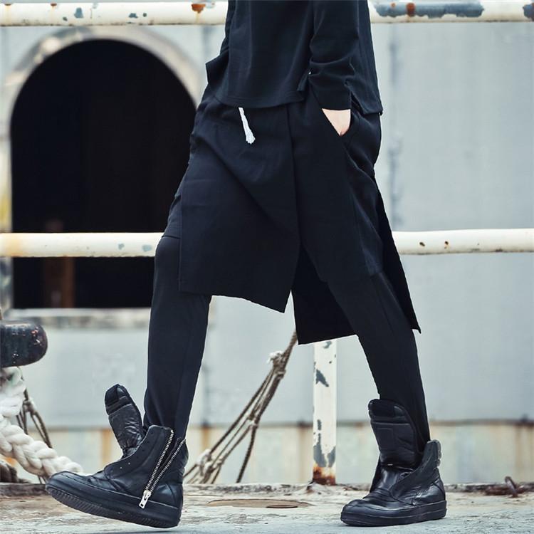 Punk Men Personalized Harem Pants Divided Skirt Skinny Legging Long Trousers New