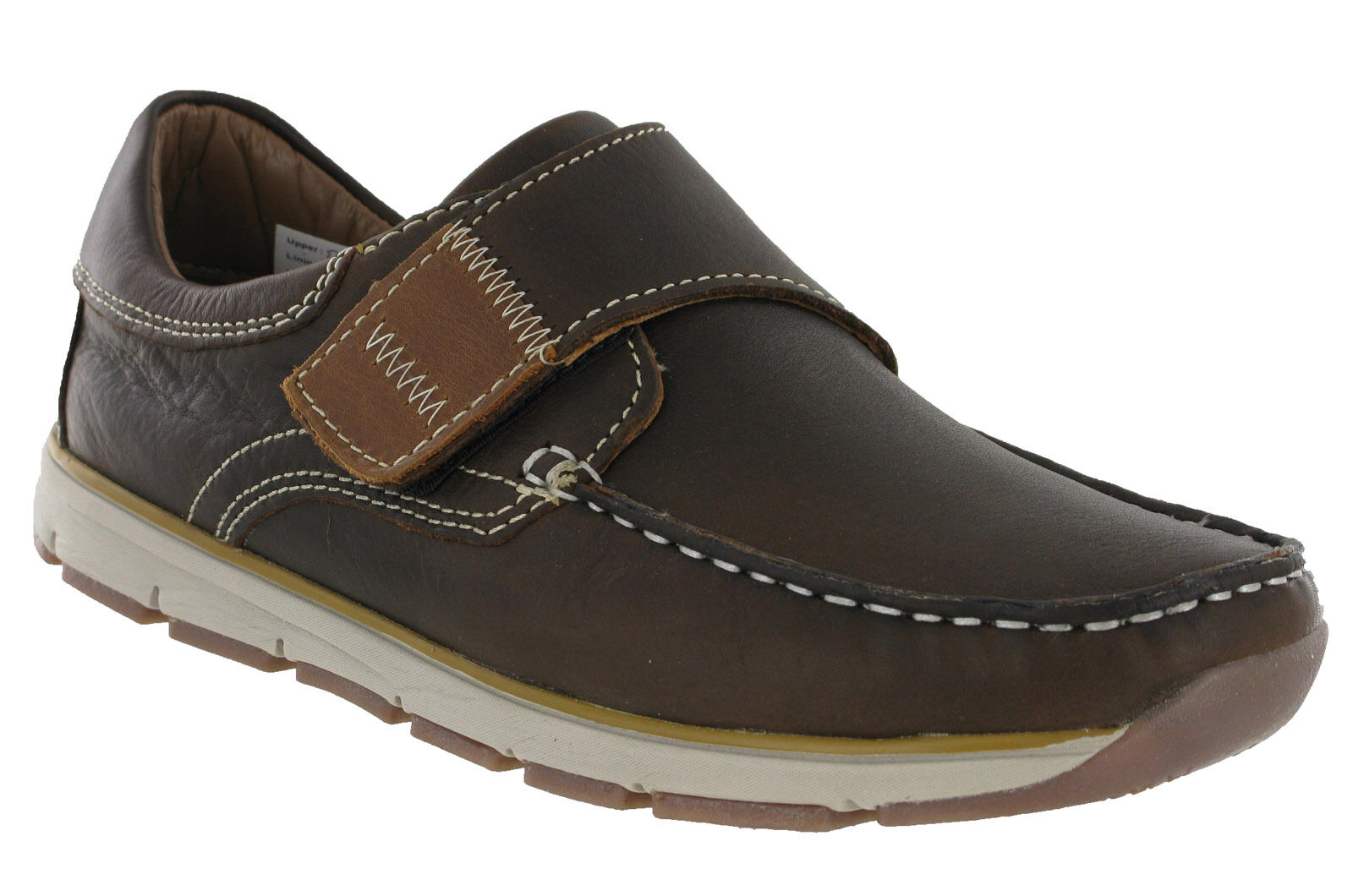 Roamers Moccasin Boat Boat Boat Zapatos Touch Fastening Leather Lined Lightweight Hombre 13549c