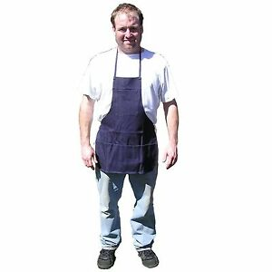 HAWK AD015 - Bib Apron Denim Blue 3 Pocket Metal Wood Working, Barbecuing, Shop