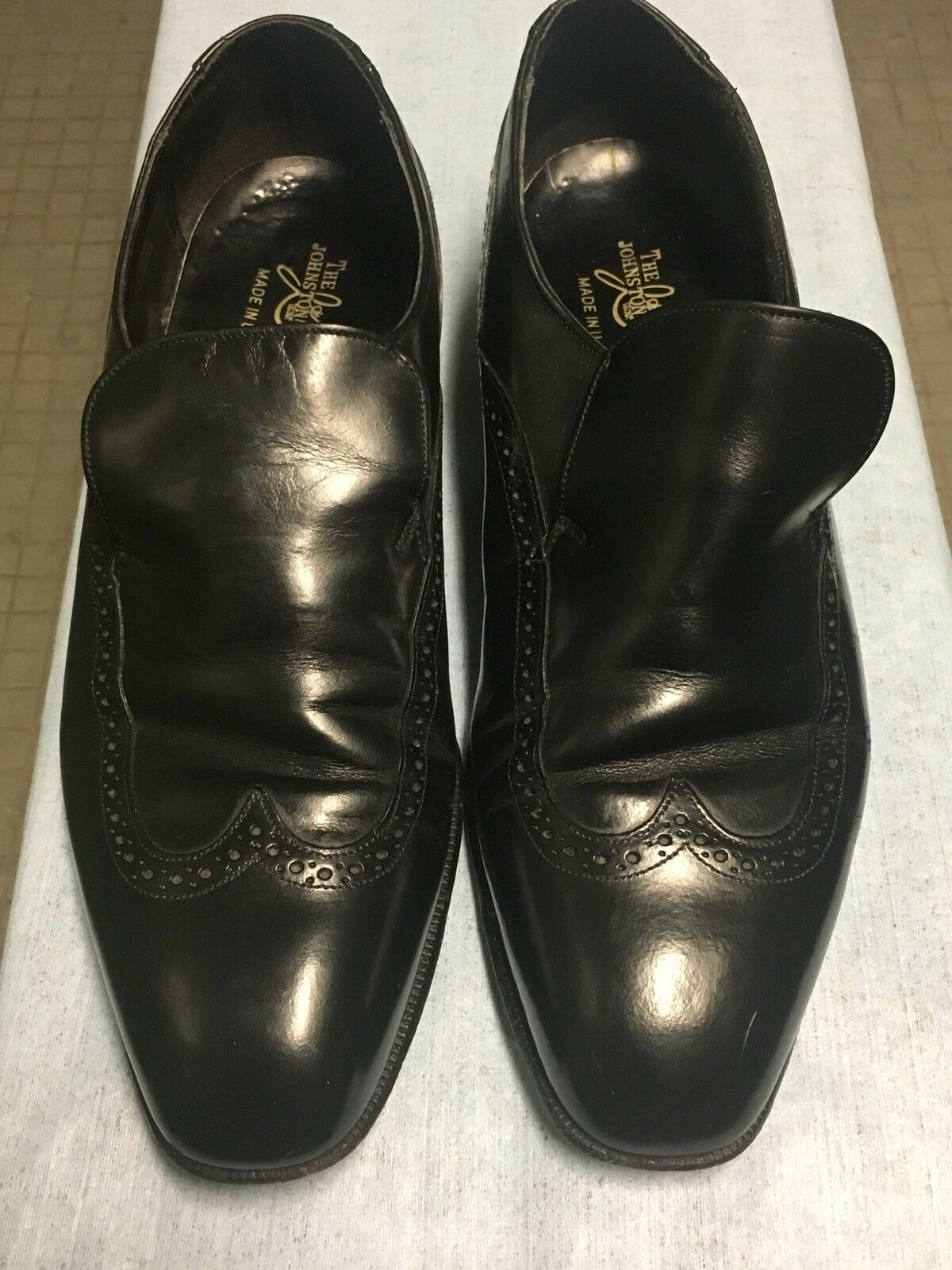 ordina ora con grande sconto e consegna gratuita Johnston Murphy Murphy Murphy  nero  Slip On Wing Tip Loafers  8 D B MADE IN THE USA  Garanzia di vestibilità al 100%