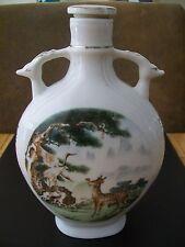 Botella De Cerámica China-decoración ciervos y Stork