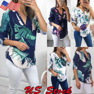 Womens-Floral-Top-T-Shirt-Loose-Casual-Tops-Blouse-Ladies-V-Neck-3-4-Sleeve